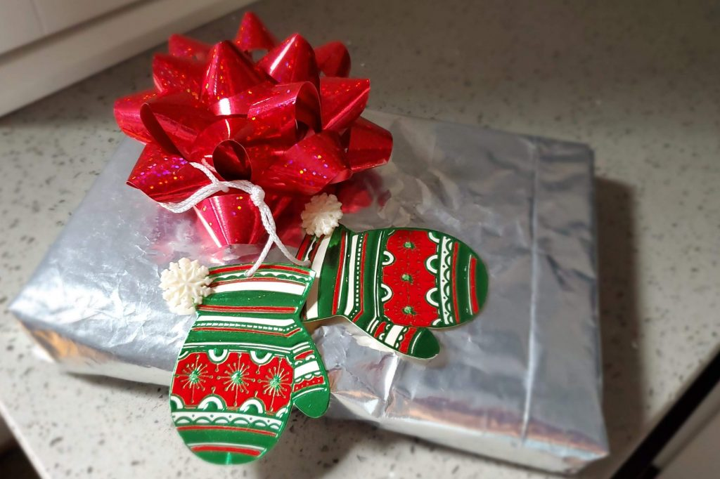 Fun wrapping paper alternatives when using a potato chip bag